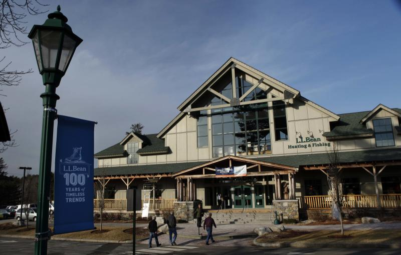 FILE - In this March 8, 2012 file photo, shoppers arrive at the L.L. Bean retail store in Freeport, Maine. L.L. Bean says sales grew 5.5 percent over the past year despite a mild winter weather that hurt sales of skis, coats and other outdoor gear for which the company is known. (AP Photo/Robert F. Bukaty, File)