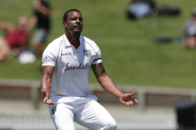West Indian fast bowler Shannon Gabriel celebrates after dismissing New Zealand's Will Young, but wickets were hard to come by despite the green pitch in Hamilton