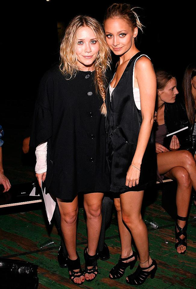 "Mary-Kate Olsen and Nicole Richie went back to black for the Proenza Schouler show. The frenemies were styled similarly - black dresses and coordinating sandals. Joe Kohen/<a href=""http://www.wireimage.com"" target=""new"">WireImage.com</a> - September 8, 2008"