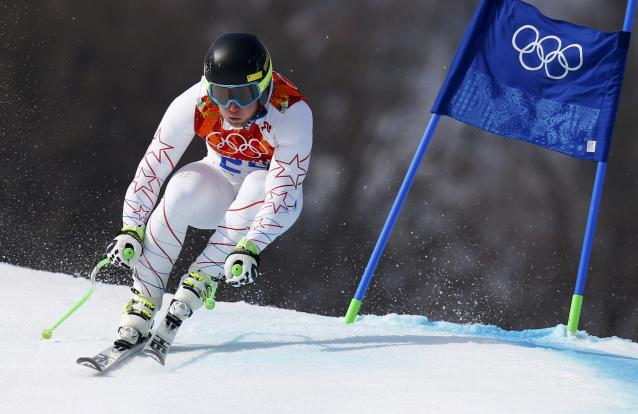 Weibrecht of the U.S. skis during the men's alpine skiing Super-G competition at the 2014 Sochi Winter Olympics