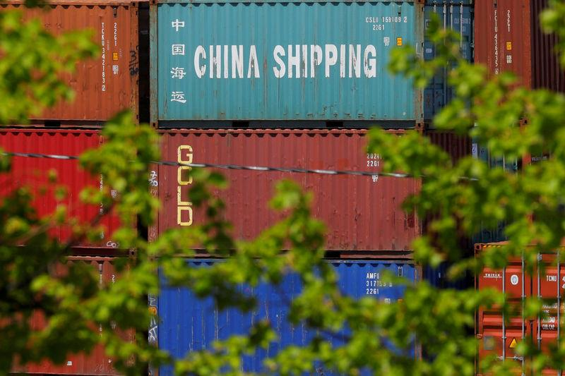FILE PHOTO: Shipping containers are stacked at the Paul W. Conley Container Terminal in Boston