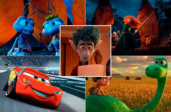 Bichos (© 1998 Disney/Pixar. All Rights Reserved.); Brave (© 2012 Disney/Pixar. All Rights Reserved.); Cars (© 2006 Disney/Pixar. All Rights Reserved.); El viaje de Arlo (© 2012 Disney/Pixar. All Rights Reserved.) y Onward (© 2020 Disney/Pixar. All Rights Reserved.)