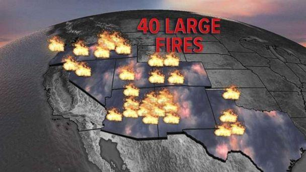 PHOTO: There are 40 large fires burning across the West on Wednesday. (ABC News)
