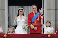 """<p>In one of the most highly anticipated weddings this century, Kate Middleton <a href=""""http://us.hellomagazine.com/royalty/1201411191291/the-21-most-memorable-moments-from-william-and-kate-s-royal-wedding/1/"""" rel=""""nofollow noopener"""" target=""""_blank"""" data-ylk=""""slk:married"""" class=""""link rapid-noclick-resp"""">married</a> Prince William, Duke of Cambridge, on April 29, 2011. The wedding took place in Westminster, and the bride wore a custom Alexander McQueen gown. The ceremony was watched live by tens of millions of people around the world and was celebrated throughout the UK.</p>"""