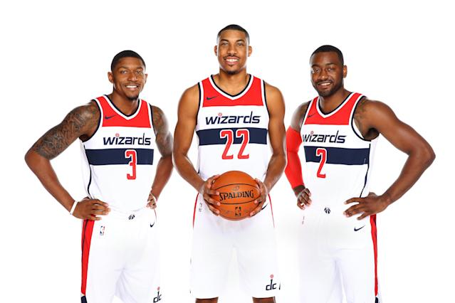 "The Wizards maxed out <a class=""link rapid-noclick-resp"" href=""/nba/players/5009/"" data-ylk=""slk:Bradley Beal"">Bradley Beal</a>, <a class=""link rapid-noclick-resp"" href=""/nba/players/5154/"" data-ylk=""slk:Otto Porter"">Otto Porter</a> and John Wall. Now it's up to them to take Washington to great new heights. (Getty)"