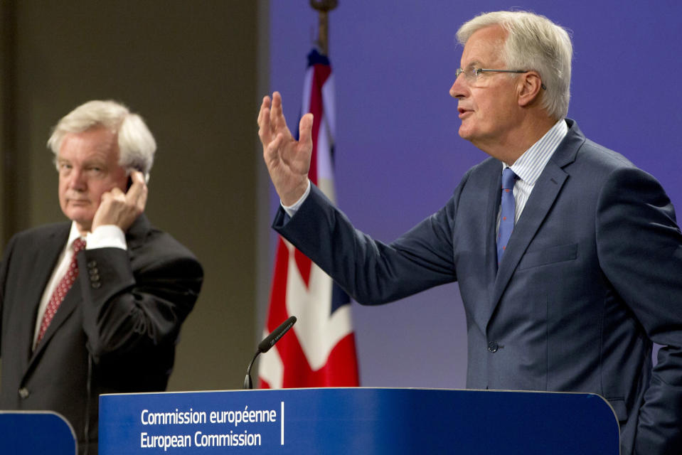 European Union chief Brexit negotiator Michel Barnier, right, is making little progress with Britain's David Davis (AP Photo/Virginia Mayo)