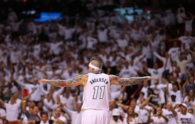MIAMI, FL - APRIL 21: Chris Andersen #11 of the Miami Heat reacts to a play during Game 1 of the Eastern Conference Quarterfinals of the 2013 NBA Playoffs against the Milwaukee Bucks at American Airlines Arena on April 21, 2013 in Miami, Florida. NOTE TO USER: User expressly acknowledges and agrees that, by downloading and or using this photograph, User is consenting to the terms and conditions of the Getty Images License Agreement. (Photo by Mike Ehrmann/Getty Images)