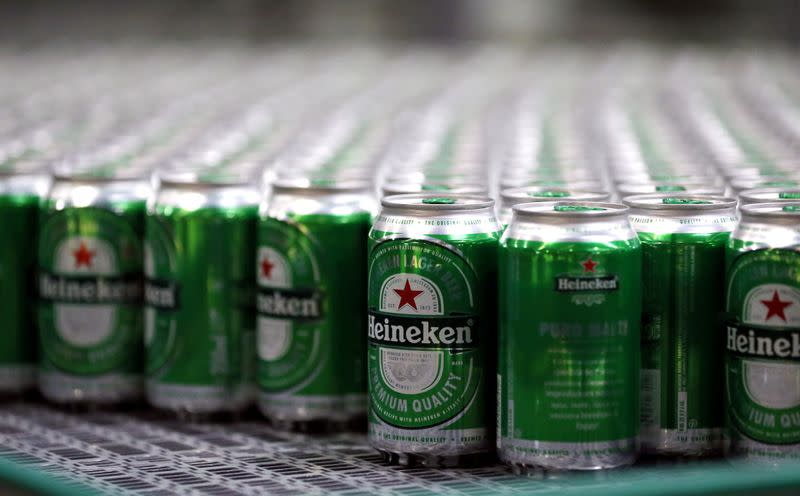 FILE PHOTO: Heineken beers are seen on a production line at the Heineken brewery in Jacarei, Brazil