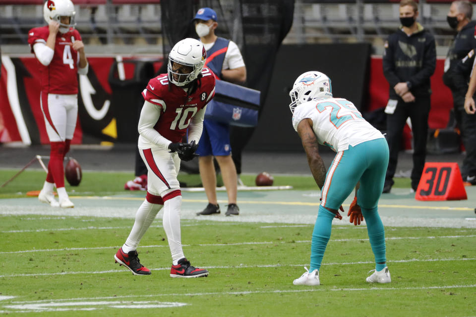Wide receiver DeAndre Hopkins of the Arizona Cardinals lines up for a play during an NFL game against the Miami Dolphins.