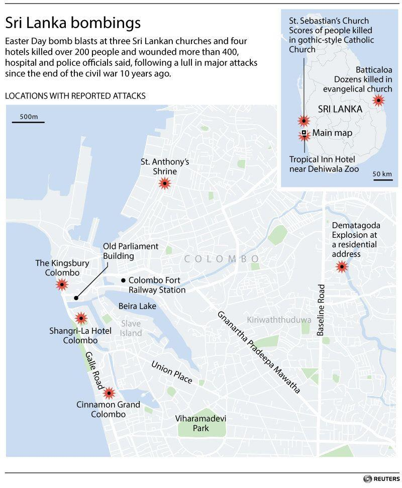 Map locating reported bombings on Sunday. (Graphic: Reuters)