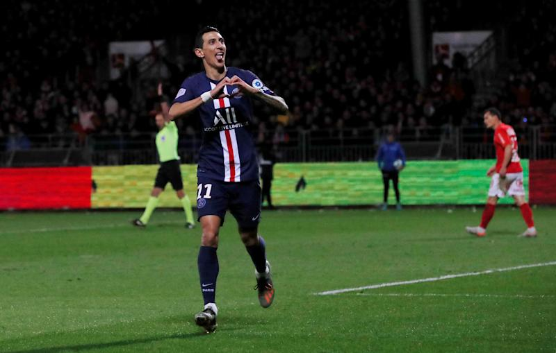 Soccer Football - Ligue 1 - Brest v Paris St Germain - Stade Francis-Le Ble, Brest, France - November 9, 2019 Paris St Germain's Angel Di Maria celebrates scoring their first goal REUTERS/Stephane Mahe