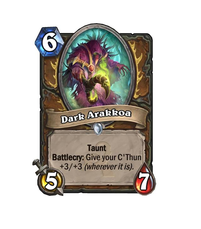 <p>This card is insane. A 5/7 with taunt for 6 is already very, very high value, and the added bonus of one of the biggest C'Thun buffs in the game just makes this minion out of control. Hoo boy.</p>