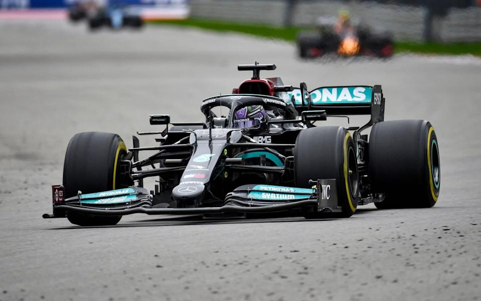 Mercedes' British driver Lewis Hamilton steers his car during the Formula One Russian Grand Prix at the Sochi Autodrom circuit in Sochi on September 26, 2021. - ALEXANDER NEMENOV/AFP via Getty Images