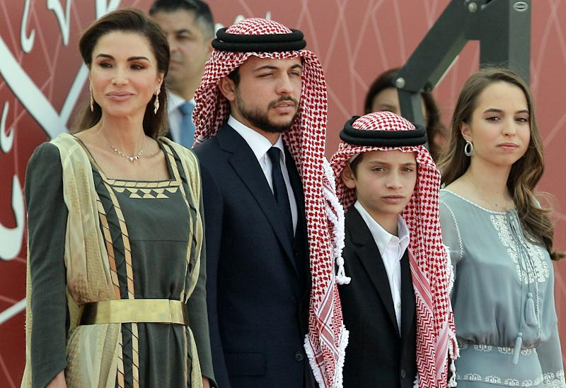 Queen Rania of Jordan and her children Crown Prince Hussein, Prince Hashem, and Princess Salma celebrate the country's 73th Independence Day.