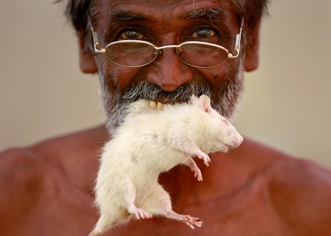FILE PHOTO: A farmer from the southern state of Tamil Nadu poses as he bites a rat during a protest demanding a drought-relief package from the federal government, in New Delhi, India, March 27, 2017. REUTERS/Cathal McNaughton/File Photo