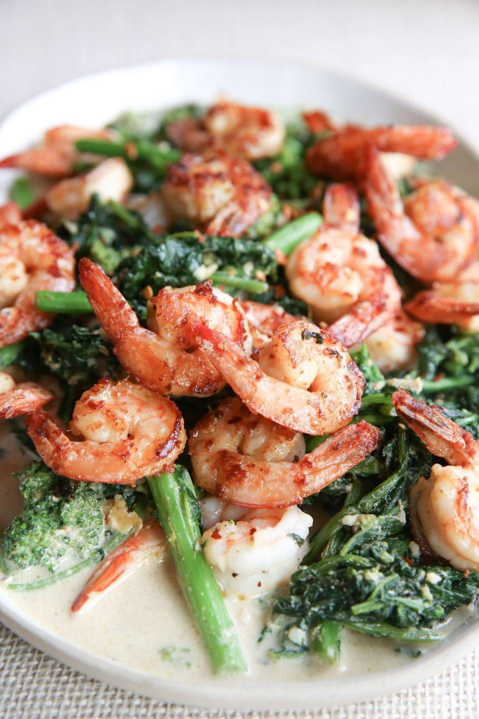 "<p>Shrimp + cheese is the best way to upgrade a boring weeknight.</p><p>Get the recipe from <a href=""https://www.delish.com/cooking/recipe-ideas/recipes/a50860/parmesan-shrimp-with-garlicky-broccoli-recipe/"" rel=""nofollow noopener"" target=""_blank"" data-ylk=""slk:Delish"" class=""link rapid-noclick-resp"">Delish</a>.<br></p>"