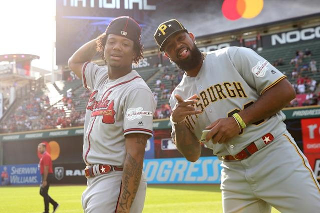 Ronald Acuna Jr. #13 of the Atlanta Braves and Felipe Vazquez #73 of the Pittsburgh Pirates and are seen on the field prior to the 90th MLB All-Star Game at Progressive Field on Tuesday, July 9, 2019 in Cleveland, Ohio. (Photo by Rob Tringali/MLB Photos via Getty Images)