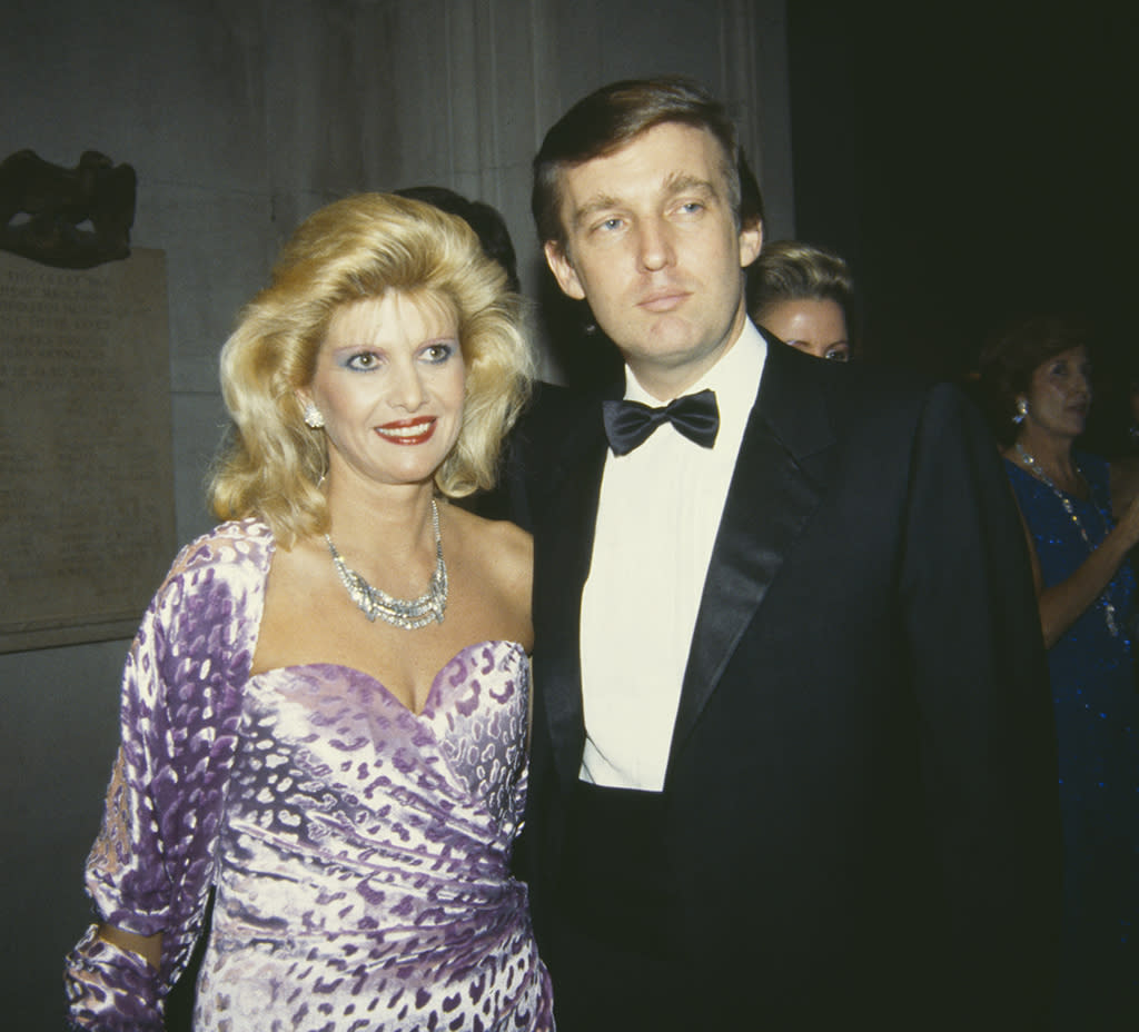 """<p>As we looked at in """"<a rel=""""nofollow"""" href=""""https://www.yahoo.com/celebrity/how-donald-trump-made-himself-into-a-celebrity-234032768.html"""">How Donald Trump Made Himself Into a Celebrity</a>,"""" the couple's image was carefully crafted — the new-money darlings were trying to get old-money respect in the Big Apple — and part of that included attending the right events. The fundraiser for the Metropolitan Museum of Art's Costume Institute attracted wealthy New Yorkers (long before it was a must for Hollywooders), so they jumped aboard in the mid-'80s as they made their ascent. The Czech-born blonde was known for her flashy frocks and big hair — perfect for an event described as fashion's """"prom"""" — and she brought both to the party in December 1985 while Donald looked debonair in his tux. (Photo: Tom Gates/Archive Photos/Getty Images) </p>"""