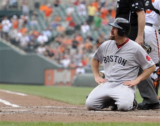 Boston Red Sox's Kevin Youkilis looks on after he was tagged out at home during the third inning of a baseball game against the Baltimore Orioles, Wednesday, May 23, 2012, in Baltimore. (AP Photo/Nick Wass)