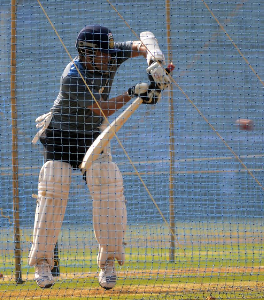 Indian cricketer Sachin Tendulkar during practice session ahead of his 200th and last Test match at Wankhede stadium in Mumbai on Nov.12, 2013. (Photo: Sandeep Mahankaal/IANS)