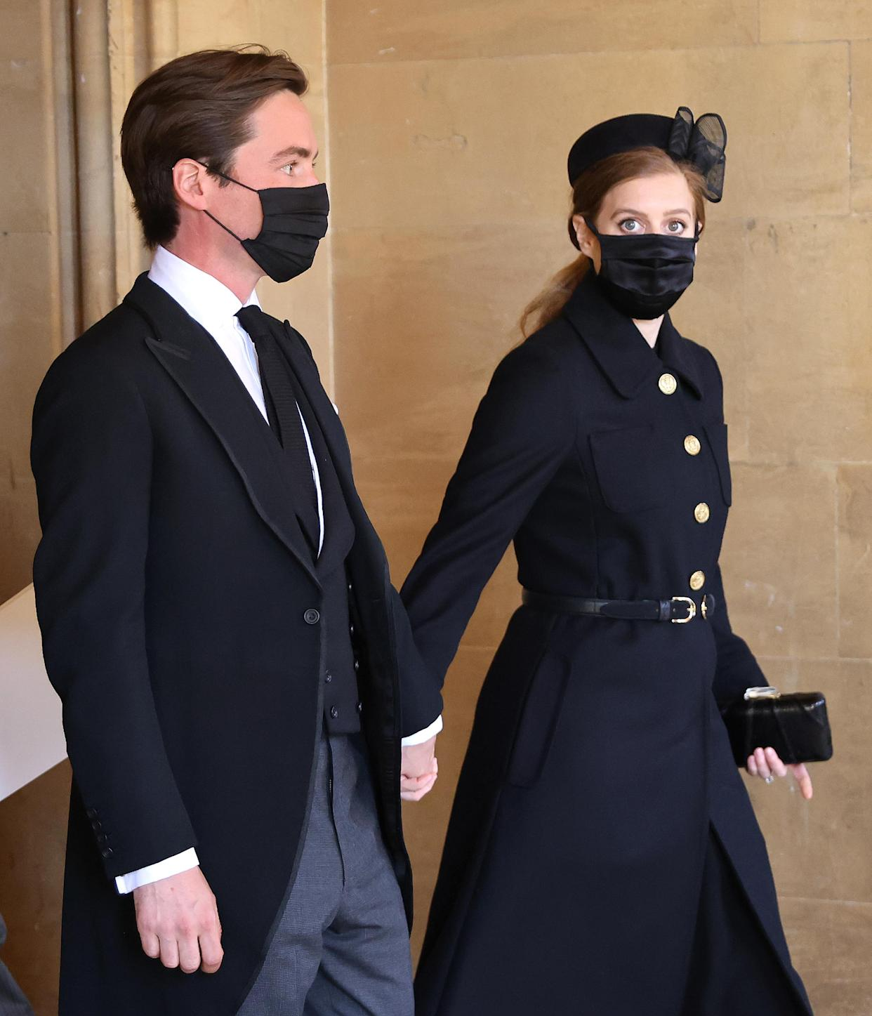 WINDSOR, ENGLAND - APRIL 17: Princess Beatrice and Edoardo Mapelli Mozzi attend the funeral of Prince Philip, Duke of Edinburgh at Windsor Castle on April 17, 2021 in Windsor, England. Prince Philip of Greece and Denmark was born 10 June 1921, in Greece. He served in the British Royal Navy and fought in WWII. He married the then Princess Elizabeth on 20 November 1947 and was created Duke of Edinburgh, Earl of Merioneth, and Baron Greenwich by King VI. He served as Prince Consort to Queen Elizabeth II until his death on April 9 2021, months short of his 100th birthday. His funeral takes place today at Windsor Castle with only 30 guests invited due to Coronavirus pandemic restrictions. (Photo by Chris Jackson/WPA Pool/Getty Images)