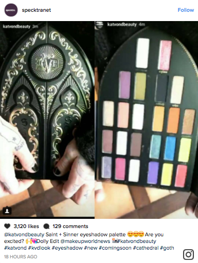 The highly anticipated Kat Von D Saint + Sinner Palette reveal went down on Instagram stories yesterday.