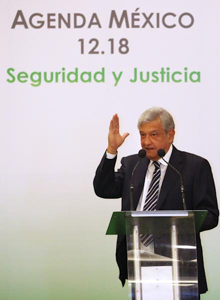 Presidential candidate Andres Manuel Lopez Obrador, of the Democratic Revolution Party (PRD), speaks during an event hosted by the non-governmental organization Mexico SOS, that advocates security and justice, in Mexico City, Monday April 2, 2012. The four candidates for Mexico's presidency officially launched their campaigns for the July 1 election on Friday, all of them promising change. (AP Photo/Alexandre Meneghini)