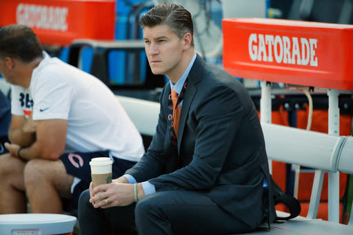 FILE - In this Oct. 9, 2017 file photo Chicago Bears general manager Ryan Pace watches warmups before an NFL football game against the Minnesota Vikings in Chicago. Pace has shown hes not afraid to make a bold move to get the player he wants. And with the No. 8 overall pick, the Bears have a chance to land a difference-maker whether they stand pat or make a trade. Pace staked his reputation last year to Mitchell Trubisky when he traded up a spot with San Francisco to grab the quarterback he believes is the one to help energize a struggling franchise with the second pick. (AP Photo/Charles Rex Arbogast)