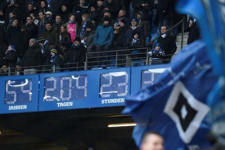 Soccer Football - Bundesliga - Hamburger SV vs Hertha BSC - Volksparkstadion, Hamburg, Germany - March 17, 2018 General view of a clock that displays the time Hamburger SV has been in the Bundesliga REUTERS/Fabian Bimmer