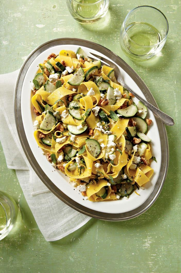 """<p><strong>Recipe: <a href=""""https://www.southernliving.com/syndication/zucchini-mint-pasta"""" rel=""""nofollow noopener"""" target=""""_blank"""" data-ylk=""""slk:Zucchini-Mint Pasta"""" class=""""link rapid-noclick-resp"""">Zucchini-Mint Pasta</a></strong></p> <p>You can easily add your choice of protein to turn this side into a main dish. </p>"""