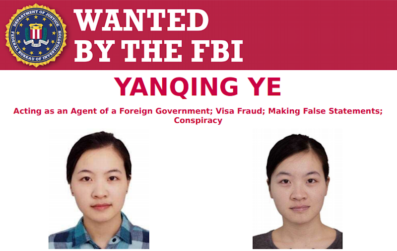 Boston University student Yanqing Ye is currently wanted by the FBI for acting as a foreign agent, visa fraud and making false statements: Federal Bureau of Investigations