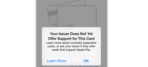 'Issuer Does Not Offer Support for this Card' screen on an iPhone