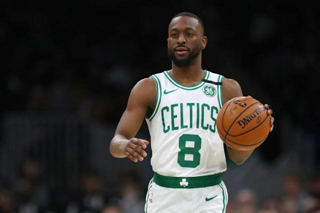 Bostons Kemba Walker got hot from three-point range late in the game to help power the Celtics to a 112-111 win over Oklahoma City. (AFP Photo/Maddie Meyer)