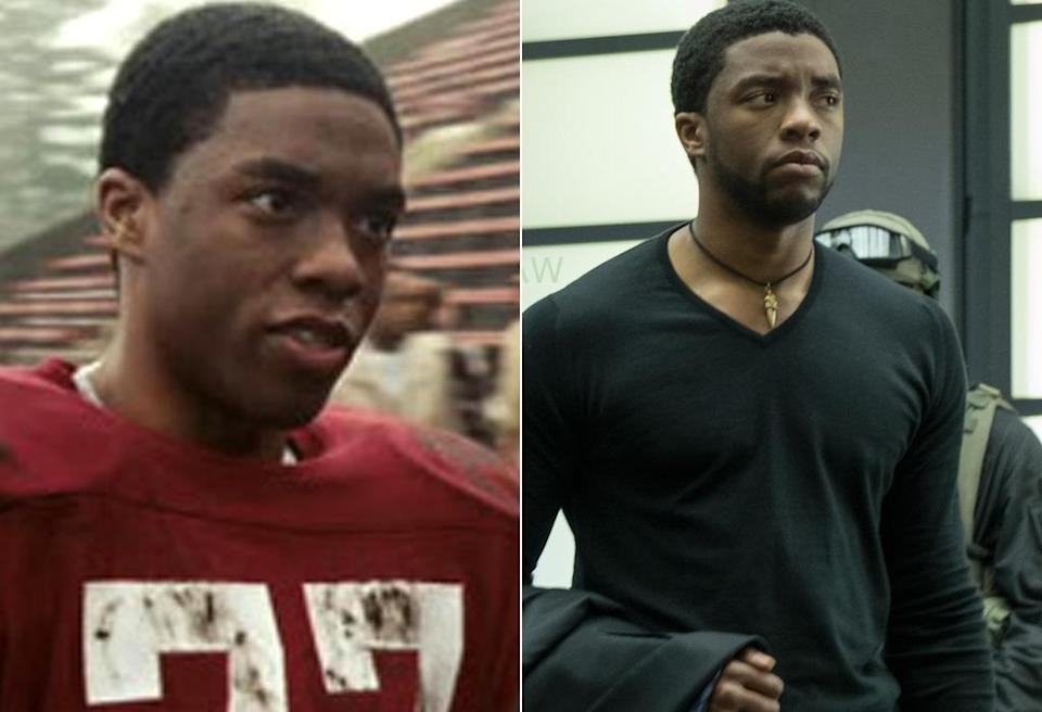 <p>After several small parts on TV, Boseman made his feature film debut in the football biopic <i>The Express.</i> Eight years later, he makes his Marvel debut in <i>Captain America: Civil War </i>as the Wakandan warrior king. <i>(Photo: Universal/Marvel)</i></p>