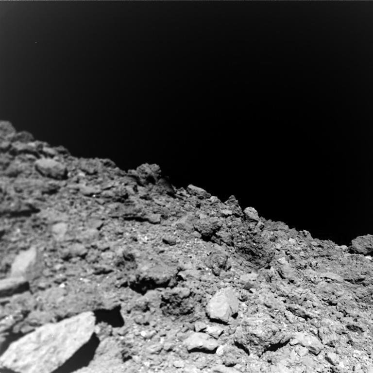 This undated photo, courtesy of Jaumann et al., Science 2019, shows a new image taken by the German-French Mobile Asteroid Surface Scout (MASCOT) on the surface of the near-Earth asteroid Ryugu