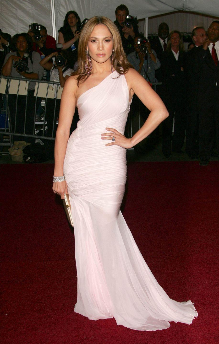 <p>In a one-shouldered chiffon dress at the Met Gala. </p>