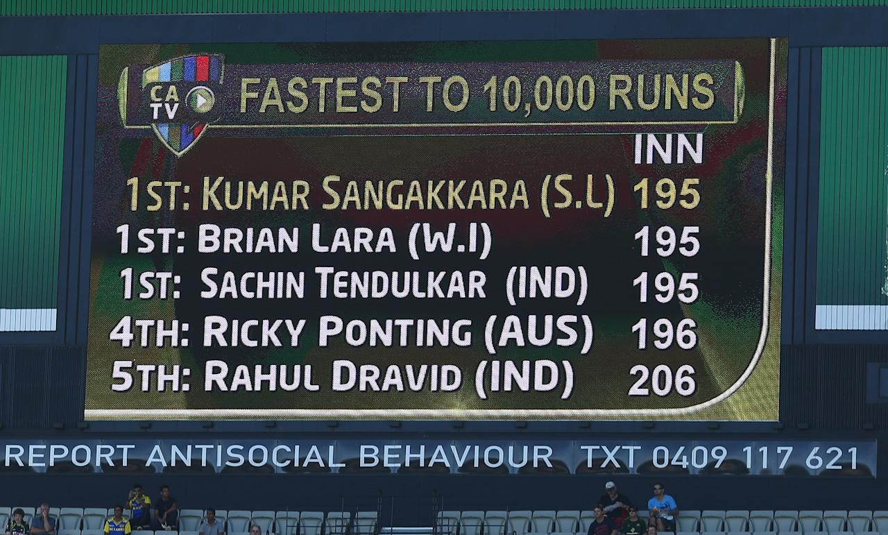 MELBOURNE, AUSTRALIA - DECEMBER 26:  Kumar Sangakkara of Sri Lanka is acknowledged on the scoreboard after reaching tenthousand career runs during day one of the Second Test match between Australia and Sri Lanka at Melbourne Cricket Ground on December 26, 2012 in Melbourne, Australia.  (Photo by Robert Cianflone/Getty Images)