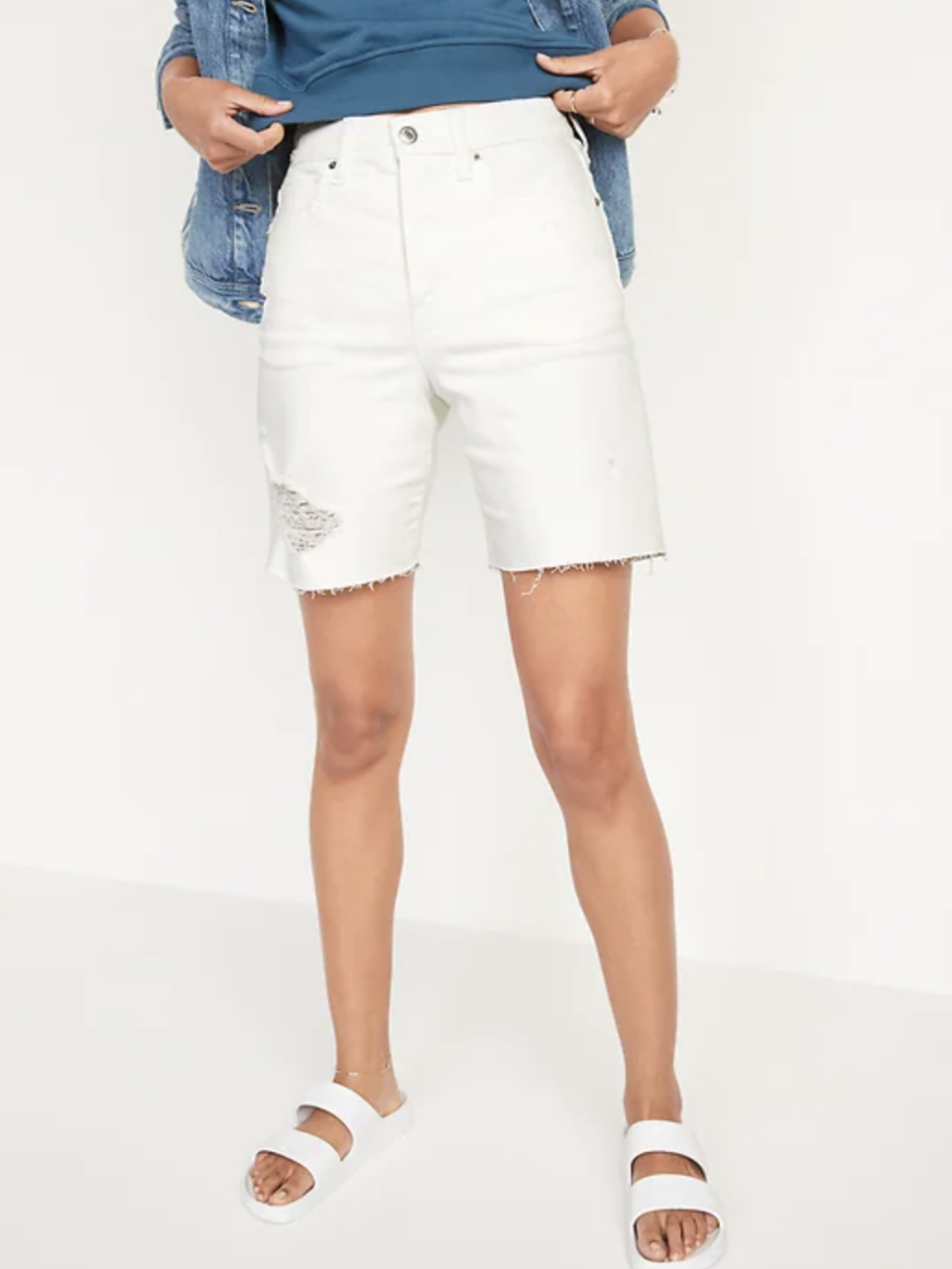 Extra High-Waisted Sky Hi Button-Fly Cut-Off Jean Shorts in White Lilies (Photo via Old Navy)