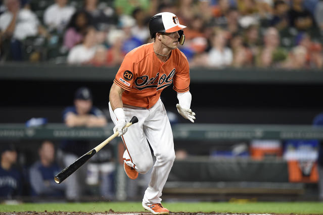 Baltimore Orioles' Stevie Wilkerson follows through on a leadoff double against the Seattle Mariners in the fifth inning of a baseball game, Saturday, Sept. 21, 2019, in Baltimore. (AP Photo/Gail Burton)