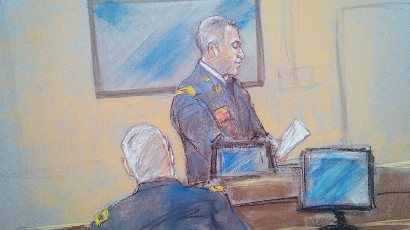 In this courtroom sketch military prosecutor Col. Steve Henricks speaks during Maj. Nidal Malik Hasan's court-martial in Fort Hood, Texas on Tuesday, Aug. 20, 2013. Military prosecutors rested their case against the Army psychiatrist accused of killing 13 people during the 2009 shooting rampage at Fort Hood. (AP Photo/Brigitte Woosley)