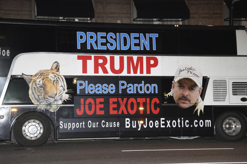 WASHINGTON D.C. - MAY 19: Joe Exotic's legal team arrives in DC tonight in a bus with his likeness with hopes of getting a chance to see President Trump tomorrow morning and receive a pardon for Exotic. May 19, 2020 in Washington, D.C. Credit: mpi34/MediaPunch /IPX