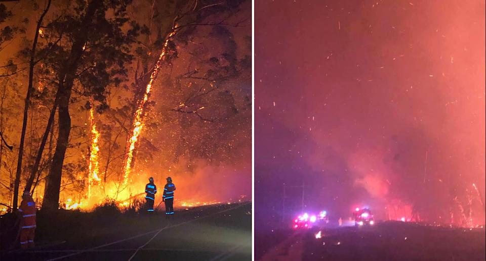 Pictured is two firefighters battling an intense fire at the roadside in Shoalhaven (left). Pictured is embers flying in the night's sky with emergency vehicles in the distance (right).