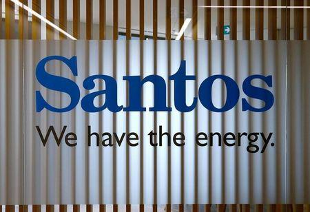FILE PHOTO: The logo of Australian oil and gas producer Santos Ltd is pictured at their Sydney office