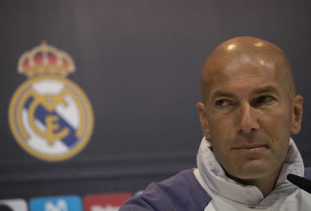 Football Soccer - Real Madrid news conference -  Valdebebas training grounds, Madrid, Spain - 22/04/17 Real Madrid's coach Zinedine Zidane attends a news conference. REUTERS/Sergio Perez