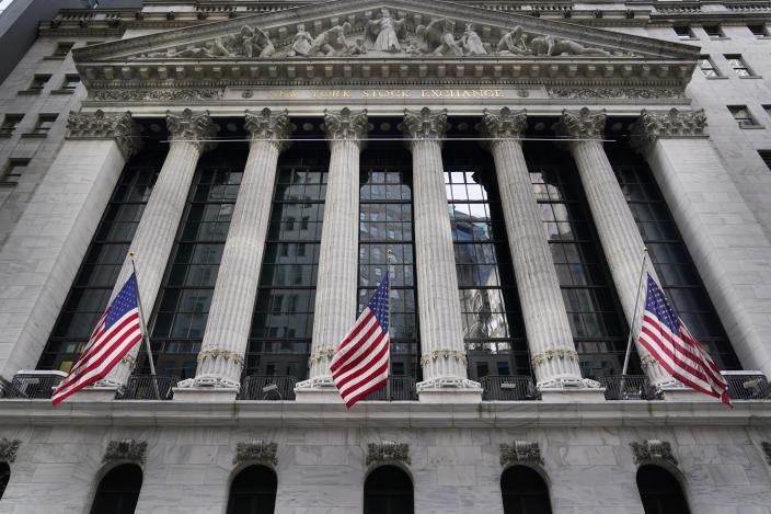 FILE - The New York Stock Exchange is seen in New York, Monday, Nov. 23, 2020. Stocks were moderately higher in early trading Thursday, April 8, 2021, helped again by large technology stocks that have benefitted from a drop in bond yields. (AP Photo/Seth Wenig)