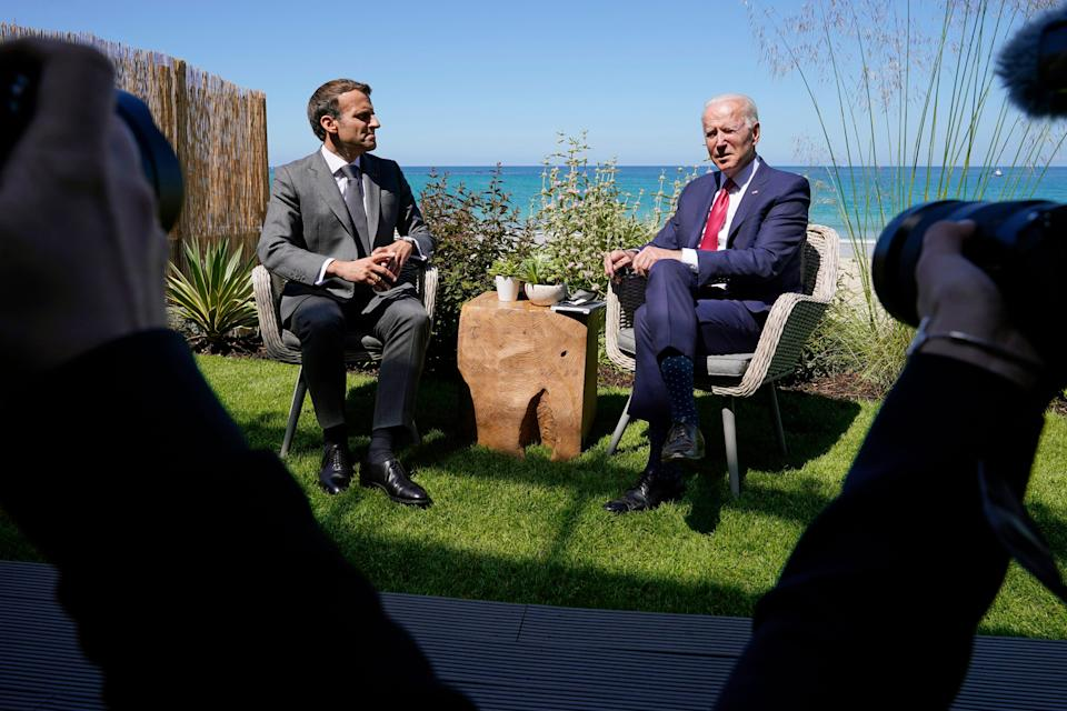 June 12, 2021: President Joe Biden and French President Emmanuel Macron visit during a bilateral meeting at the G-7 summit, in Carbis Bay, England.