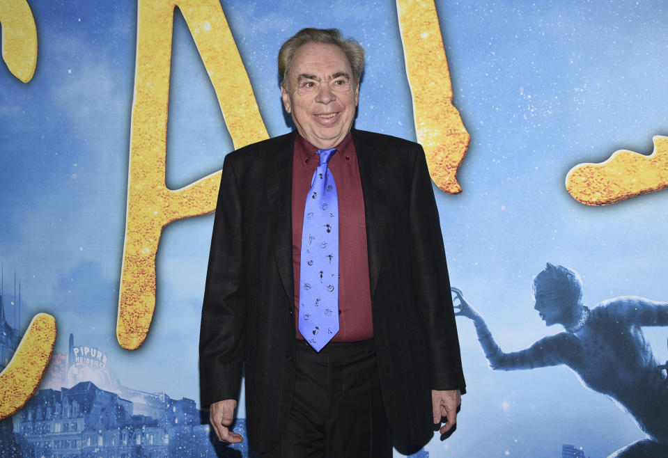 "Executive producer/composer Andrew Lloyd Webber attends the world premiere of ""Cats"" at Alice Tully Hall on Monday, Dec. 16, 2019, in New York. (Photo by Evan Agostini/Invision/AP)"