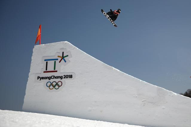 <p>PYEONGCHANG-GUN, SOUTH KOREA – FEBRUARY 08: An athlete in action during Slopestyle training ahead of the PyeongChang 2018 Winter Olympic Games. (Getty Images) </p>