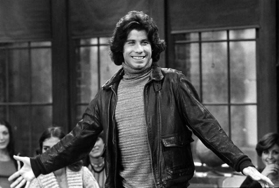 """UNITED STATES - OCTOBER 21:  WELCOME BACK, KOTTER - """"The Fight"""" - Season Two - 10/21/76, Vinnie's (John Travolta) refusal to do Freddie's homework caused dissension with the Sweathogs.,  (Photo by Walt Disney Television via Getty Images Photo Archives/Walt Disney Television via Getty Images)"""