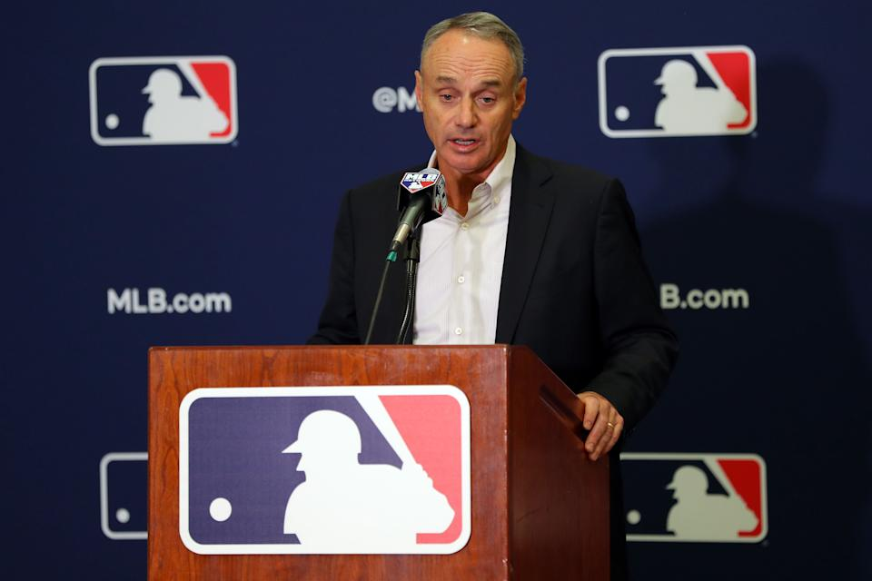 GLENDALE, AZ - FEBRUARY 19: Commissioner of Baseball Robert D. Manfred Jr. speaks to the media during Cactus League Media Availability on Tuesday, February 19, 2019 at the Glendale Civic Center in Glendale, Arizona.  (Photo by Alex Trautwig/MLB Photos via Getty Images)